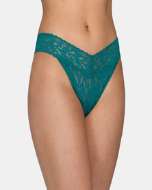 Hanky Panky Rolled Signature Lace Original Rise Thong - Deep Green