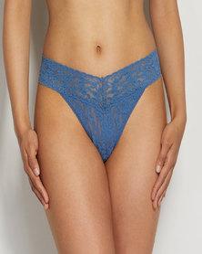 Hanky Panky Rolled Signature Lace Original Rise Thong - Denim Blue