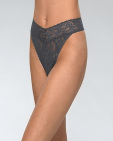 Hanky Panky Rolled Signature Lace Original Rise Thong - Charcoal