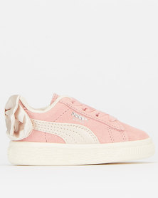 Puma Sportstyle Core Infants Suede Bow Sneakers Bridal Rose