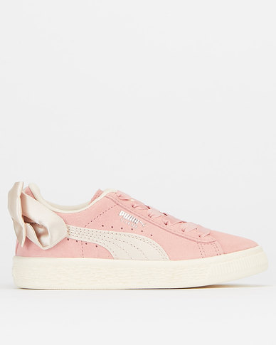Puma Sportstyle Core Girls Suede Bow Sneakers Bridal Rose