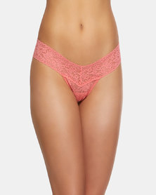 Hanky Panky Rolled Signature Lace Low Rise Thong - Peach