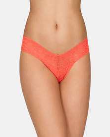 Hanky Panky Rolled Signature Lace Low Rise Thong - Orange