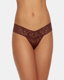 Hanky Panky Rolled Signature Lace Low Rise Thong - Maroon