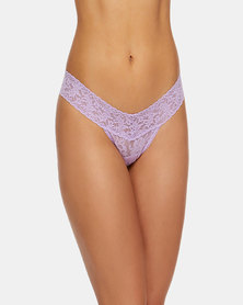 Hanky Panky Rolled Signature Lace Low Rise Thong - Lilac