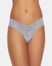 Hanky Panky Rolled Signature Lace Low Rise Thong - Light Grey