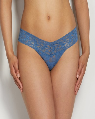 Hanky Panky Rolled Signature Lace Low Rise Thong - Denim Blue