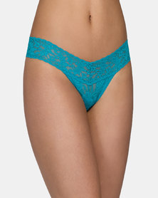 Hanky Panky Rolled Signature Lace Low Rise Thong - Dark Teal