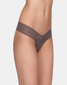 Hanky Panky Rolled Signature Lace Low Rise Thong - Brown
