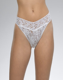 Hanky Panky Rolled Signature Lace Original Rise Thong - White