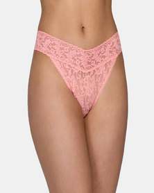 Hanky Panky Rolled Signature Lace Original Rise Thong - Peach