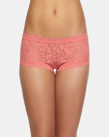 Hanky Panky Rolled Signature Lace Boy Short- Peach