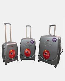 "HappyDeals 3 Pcs Luggage Set 28""/ 24""/ 20""-Silver"