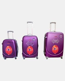 "HappyDeals 3 Pcs Luggage Set 28""/ 24""/ 20""-Purple"