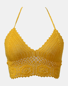 SKA Round Flower Crochet Bra Top Yellow