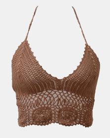 SKA Round Flower Crochet Bra Top Brown