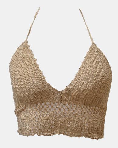 SKA Round Flower Crochet Bra Top Natural