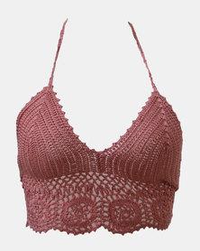 SKA Round Flower Crochet Bra Top Pink