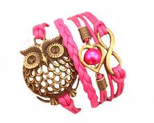 Urban Charm Wise owl Infinity Bracelet - Bronze - Fuschia Pink