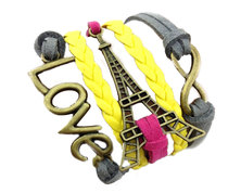 Urban Charm Summer Paris Love Infinity Bracelet - Fuschia, Charcoal & Yellow