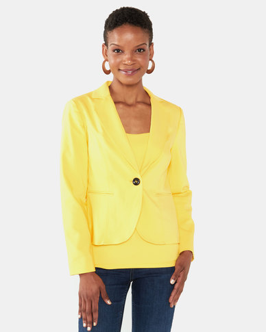 cath.nic By Queenspark Single Breast Woven Jacket Yellow