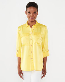 cath.nic By Queenspark Button Double Pocket Woven Blouse Yellow/Gold