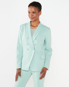 Miss Cassidy By Queenspark Double Breasted Woven Blazer Mint