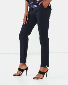 Miss Cassidy By Queenspark Plain Elasticated Woven Slacks Navy