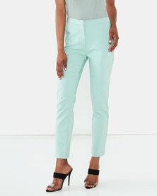 Miss Cassidy By Queenspark Plain Elasticated Woven Slacks Mint