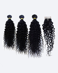 "BLKT Free Closure Kinky Curl 8""+10""+12""+8""C Value Pack 4Pcs Black"