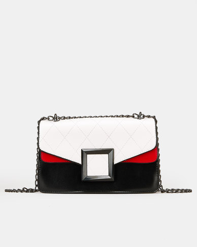 Blackcherry Bag Chain Crossbody Bag Black/White
