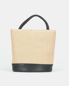 Blackcherry Bag Natural Straw Top Handle Crossbody Bag Black