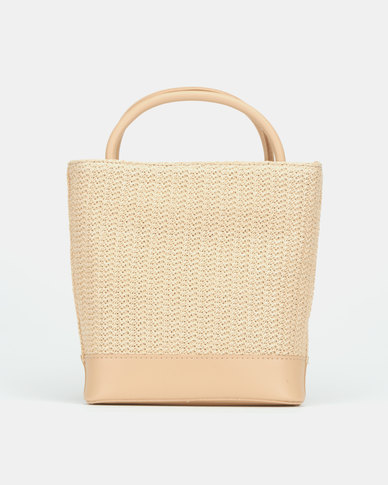 Blackcherry Bag Natural Straw Top Handle Crossbody Bag Beige