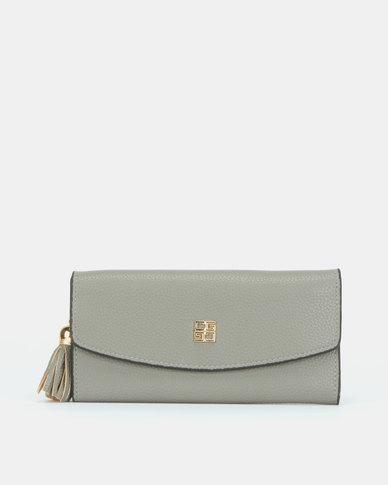 Blackcherry Bag Tassel Detail Wallet Grey
