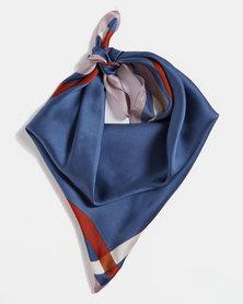 Blackcherry Bag Border Silky Scarf Blue
