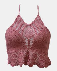 SKA Colourful High Neck Crochet Bra Top Pink