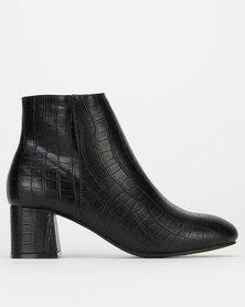 New Look Croc Block Heel Ankle Boots Black