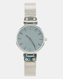 New Look Hardware Mesh Strap Watch Silver