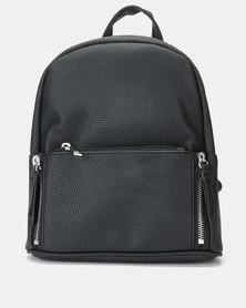 New Look Dahlia Zip Pocket Mini Curve Backpack Black