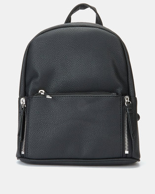 New Look Dahlia Zip Pocket Mini Curve Backpack Black