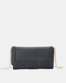 New Look Whipstitch Clutch Purse Black