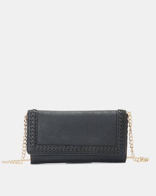 New Look Whipstitch Clutch Purse Black