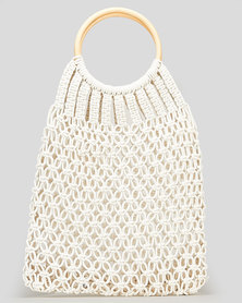 Blackcherry Bag Ring Handle Crochet Bag White