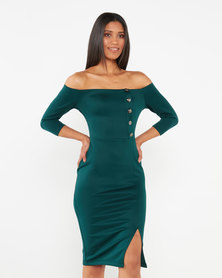 Legit Button Detail Bodycon Dress Green