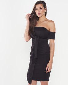 Legit Off The Shoulder Tie Front Mock Wrap Dress  Black