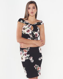 Legit Knot Front Floral Bodycon Dress Floral Black