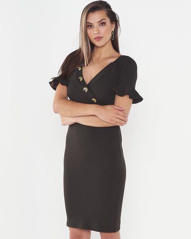 Legit Button Bodice Bodycon Dress Fatigue