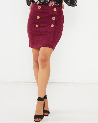 Legit Button Detail Mini Skirt Grape