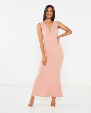 Legit V Prong Maxi Bodycon Dress Blush