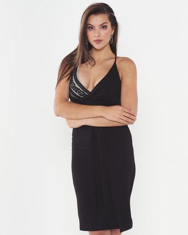 Legit Lace Bodice Mock Wrap Dress Black